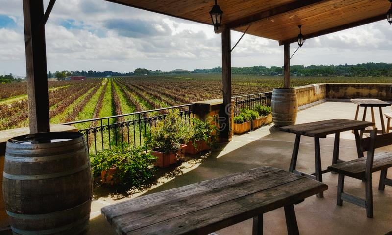 A view of rows of vines in a vineyard from a villa balcony with wooden tables and chairs. On the terrace stock photography