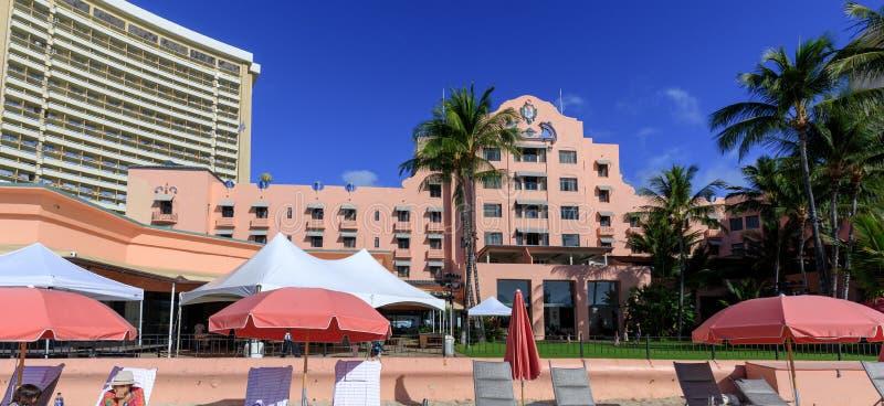 View of the Royal Hawaiian, a Luxury Collection Resort, Waikiki beach stock photography