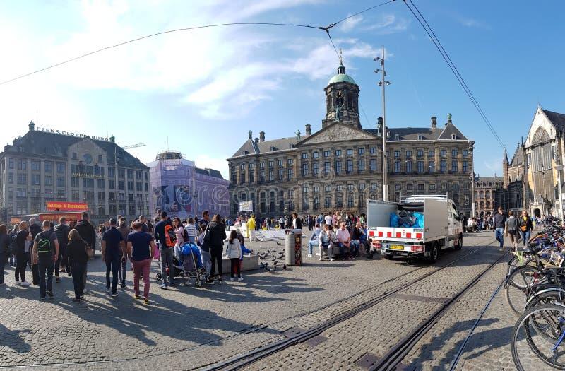 Royal palace of Amsterdam. View of the Royal palace of Amsterdam and Dam Square royalty free stock photos