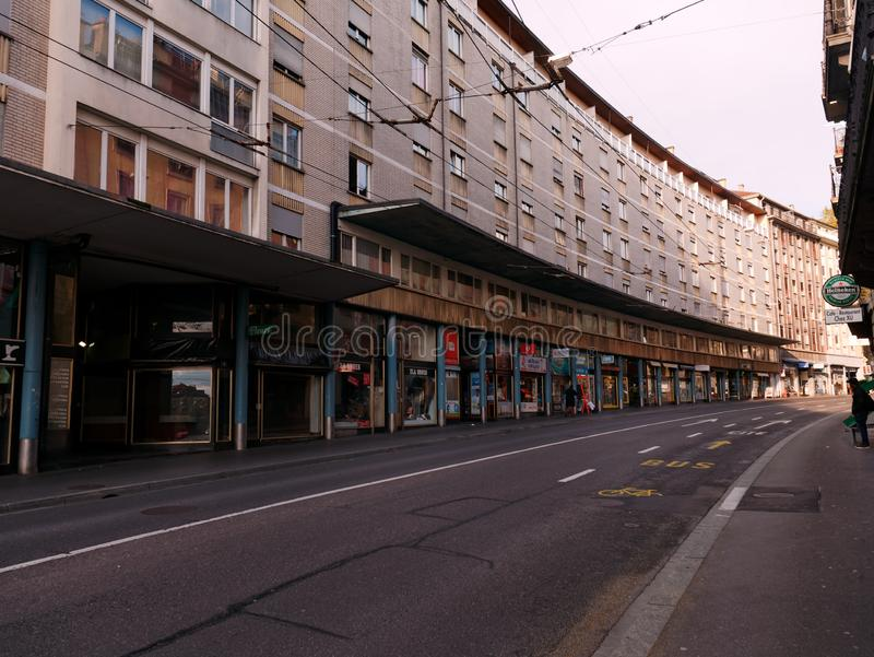 View of the Rue du Tunnel, Lausanne, Switzerland stock images