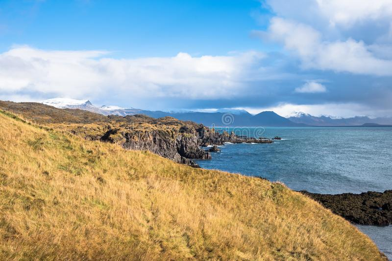 View of the Rugged Coast of Iceland on a Sunny Autumn Day stock photos