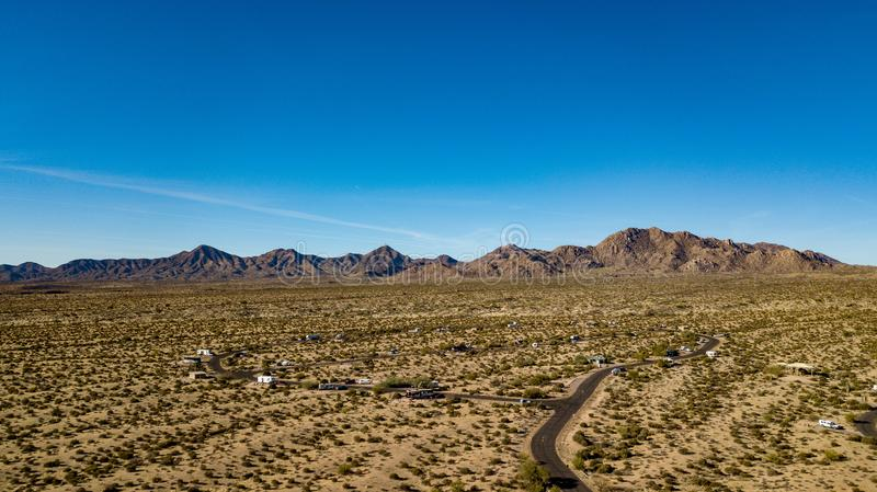 Aerial View Of McDowell Regional Park Near Phoenix, Arizona. View of rugged hills, mountains, and desert landscape in McDowell Regional Park near Phoenix stock images