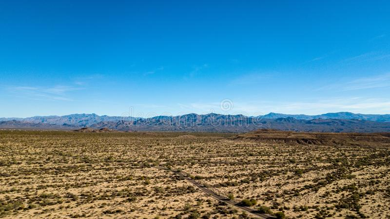 Aerial View Of McDowell Regional Park Near Phoenix, Arizona. View of rugged hills, mountains, and desert landscape in McDowell Regional Park near Phoenix stock photo