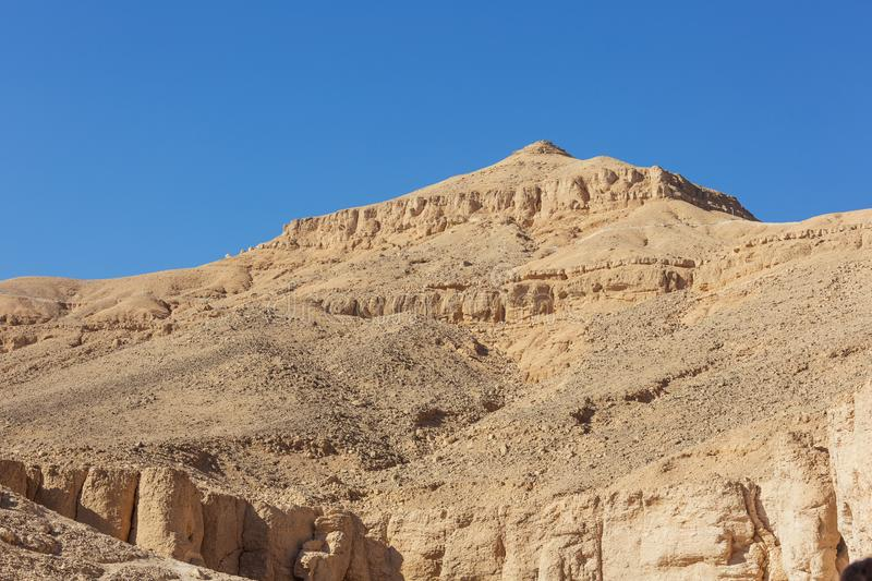 View of the rugged peaks around the Valley of the Kings. In the vicinity of Luxor royalty free stock photos