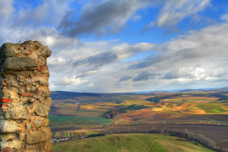View from ruin of medieval castle stock photos