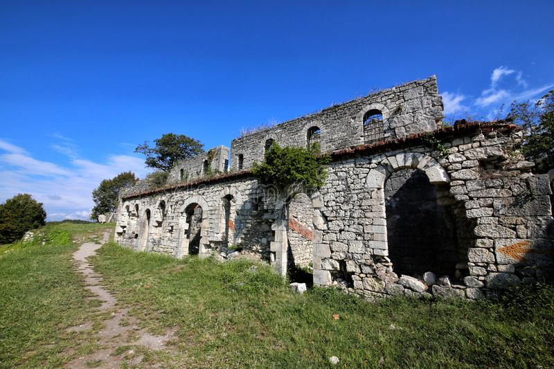 View of the ruins of the Anakopia fortress stock image