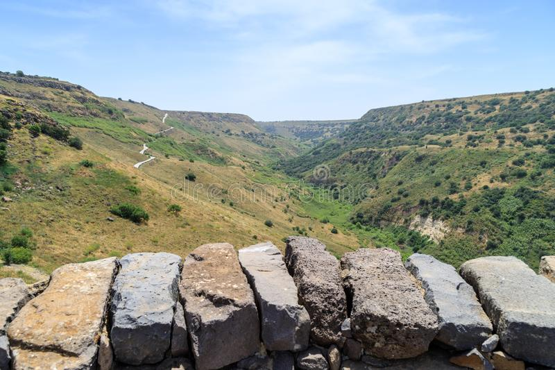 View from the ruins of the ancient Jewish city of Gamla destroyed by the armies of the Roman Empire in the 67th year AD to the Gol. An Heights and to the Sea of royalty free stock photo
