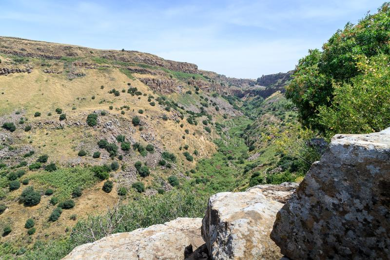 View from the ruins of the ancient Jewish city of Gamla destroyed by the armies of the Roman Empire in the 67th year AD to the Gol. An Heights and to the Sea of stock photos