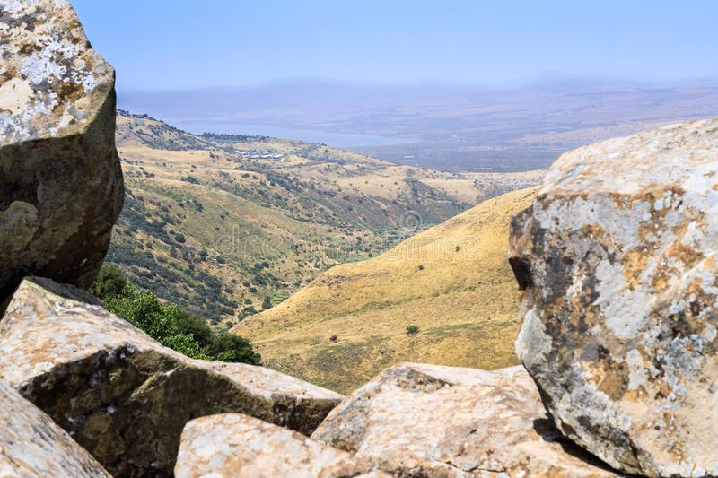 View from the ruins of the ancient Jewish city of Gamla destroyed by the armies of the Roman Empire in the 67th year AD to the Gol. An Heights and to the Sea of royalty free stock photography
