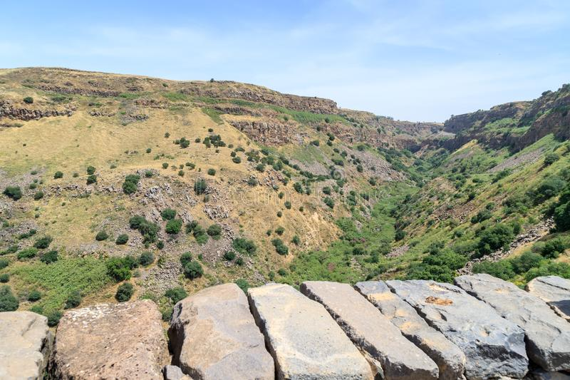 View from the ruins of the ancient Jewish city of Gamla destroyed by the armies of the Roman Empire in the 67th year AD to the Gol. An Heights and to the Sea of stock images
