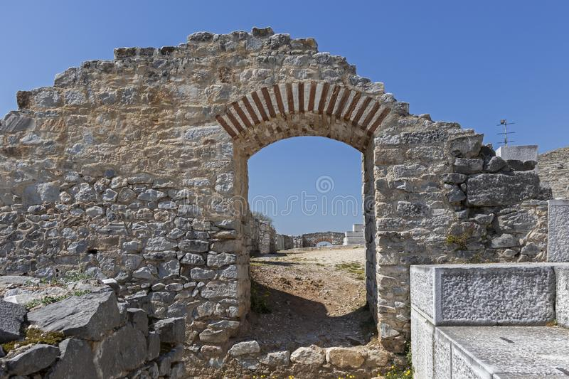 Ruins of The ancient theatre in the Antique area of Philippi, Eastern Macedonia and Thrace, Greece. View of ruins of The ancient theatre in the Antique area of stock photo