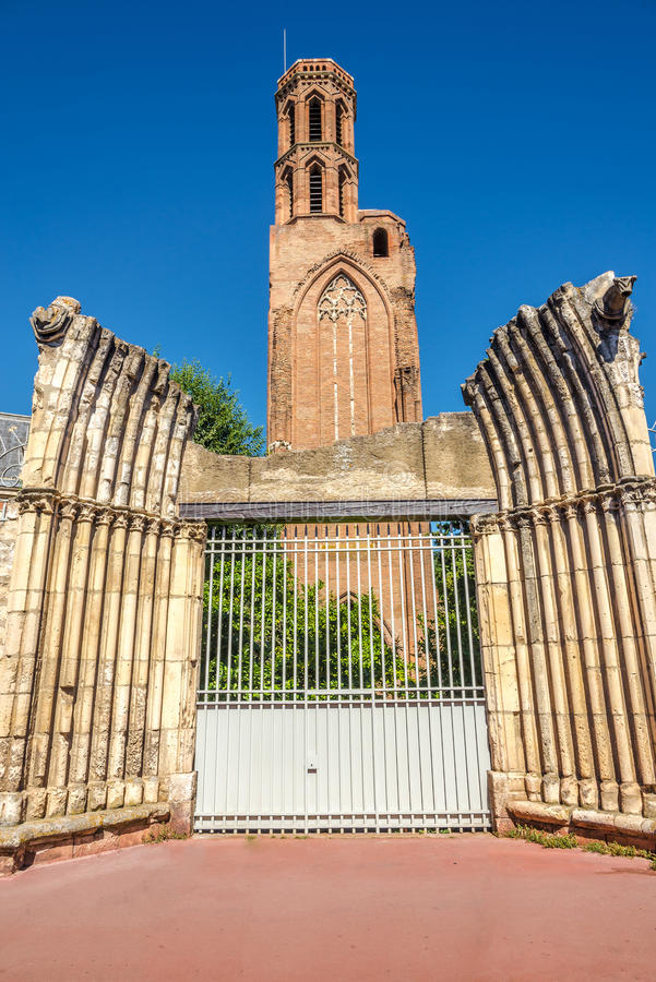 View at the ruins church of Cordeliers in Toulouse - France. View at the ruins church of Cordeliers in Toulouse stock photos