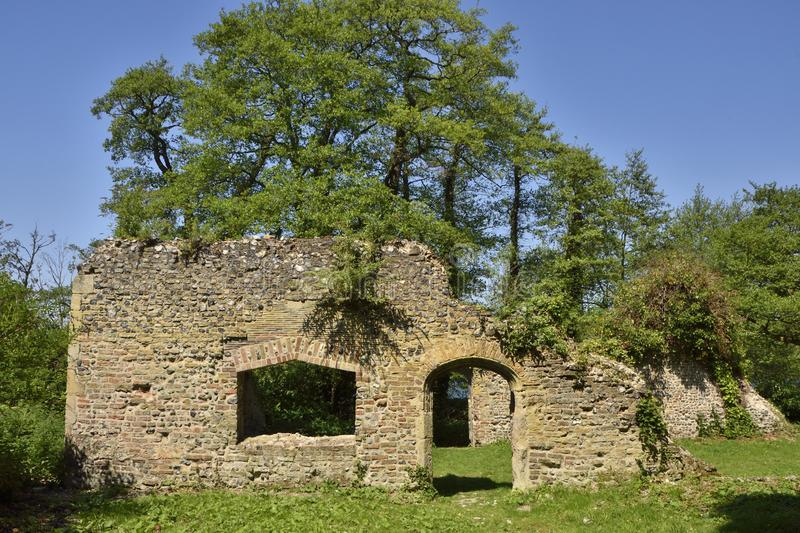 Historic Country House Ruins of East Anglia. View of the ruins of the country house of the Priors of Norwich, Whitlingham Country Park, Trowse near Norwich, East stock image