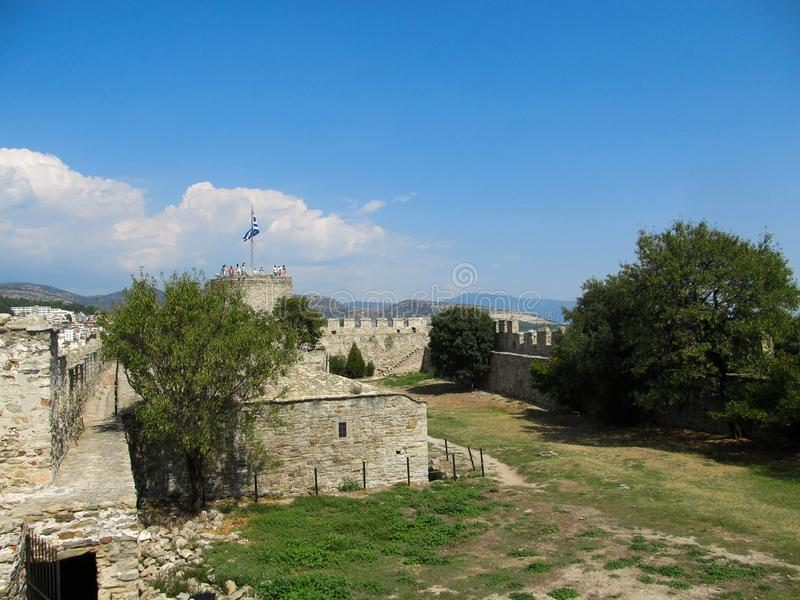 View of Ruins of fortress of Kavala, East Macedonia and Thrace, Greece.  royalty free stock photo