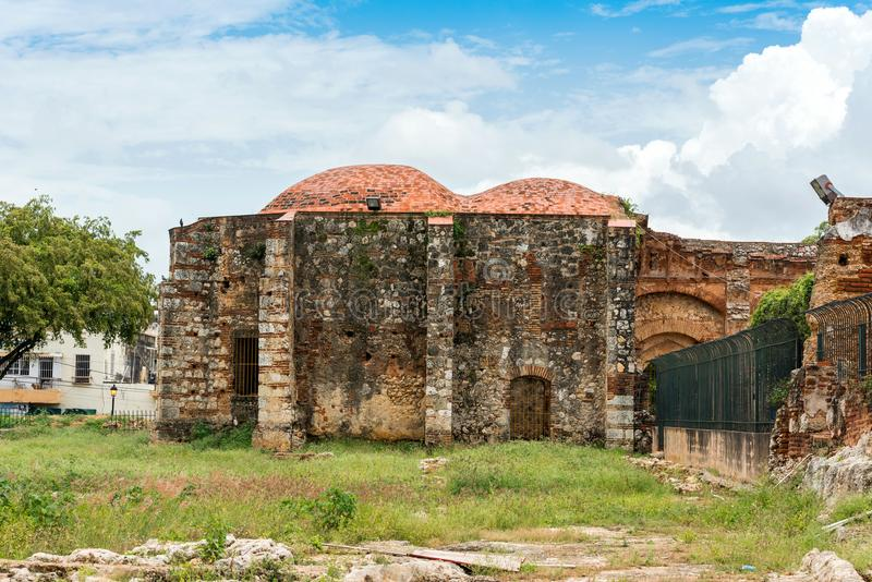 View on ruins of the Franciscan Monastery, Santo Domingo, Dominican Republic. Copy space for text. royalty free stock image