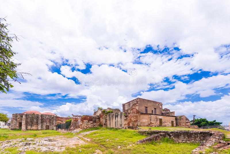 View on ruins of the Franciscan Monastery, Santo Domingo, Dominican Republic. Copy space for text. royalty free stock photography