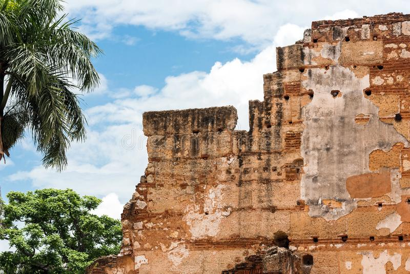 View on ruins of the Hospital of St. Nicolas of Bari, Santo Domingo, Dominican Republic. Close-up. royalty free stock image