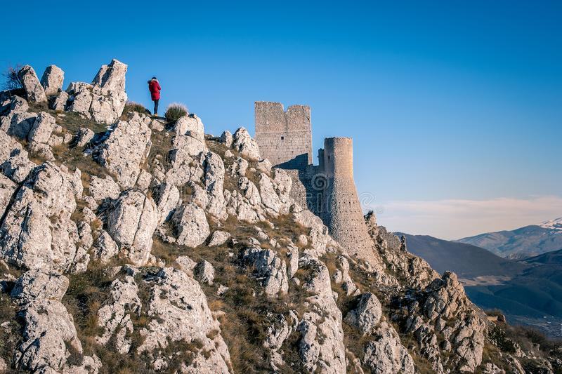 View of the ruins of the medieval castle of Rocca Calascio located in the vicinity of the Gran Sasso-symbols of Abruzzo stock photography