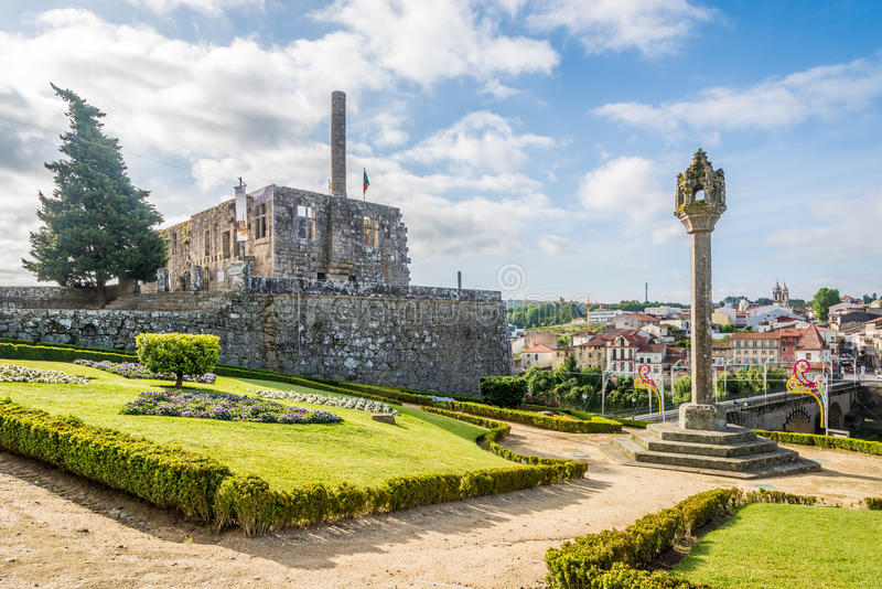 View at the ruins of Paco dos Condes in Barcelos - Portugal. BARCELOS,PORTUGAL - MAY 14,2017 - View at the ruins of Paco dos Condes in Barcelos. The town symbol stock photo