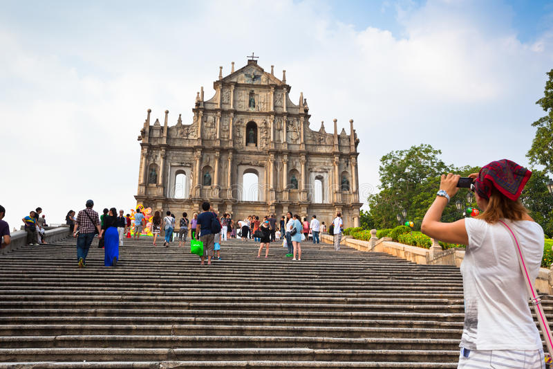View of the ruins of St Paul cathedral in Macau royalty free stock photos