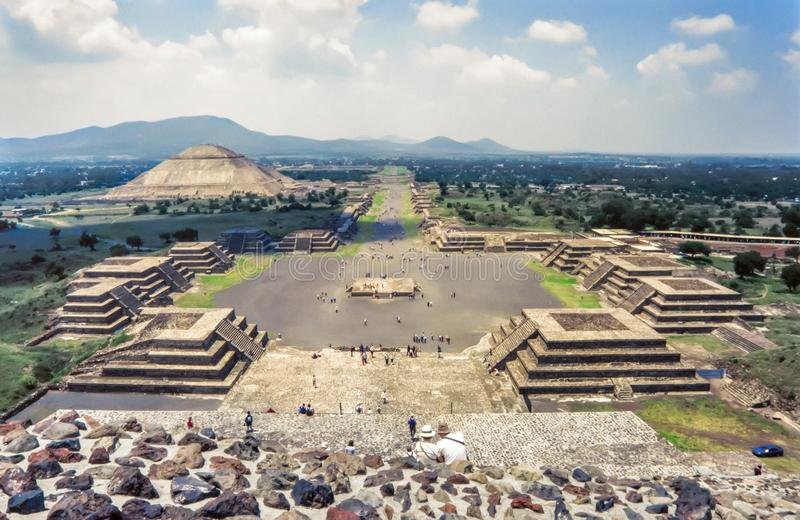 View of the ruins of Teotihuacan.The Avenue of the Dead and the royalty free stock photo