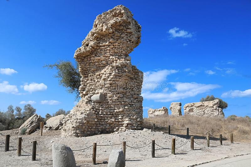 Ruins of the tower in the park, Ashkelon, Israel. View of ruins of the tower in the park, Ashkelon, Israel royalty free stock photo