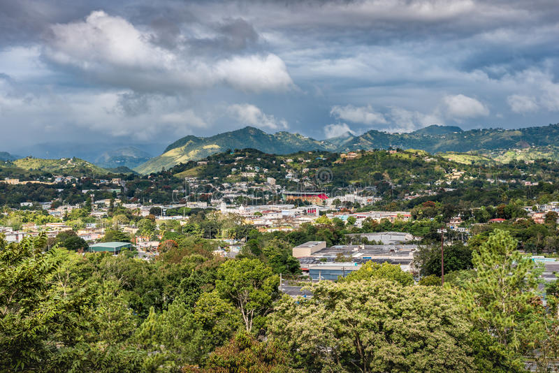 View of rural Puerto Rican town in the valley stock photography