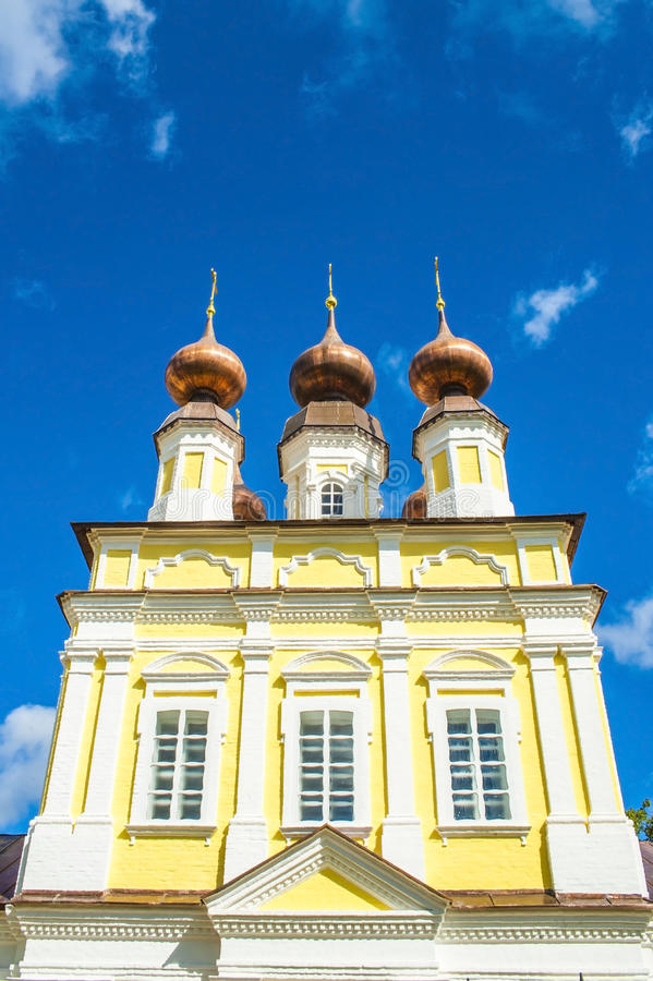 View on Russian church cupolas. And beautiful sky royalty free stock image