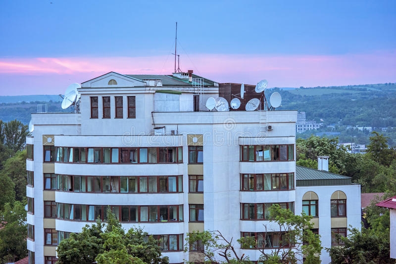 View on russian embassy in chisinau city. Sunset with purple sky, Moldova royalty free stock image