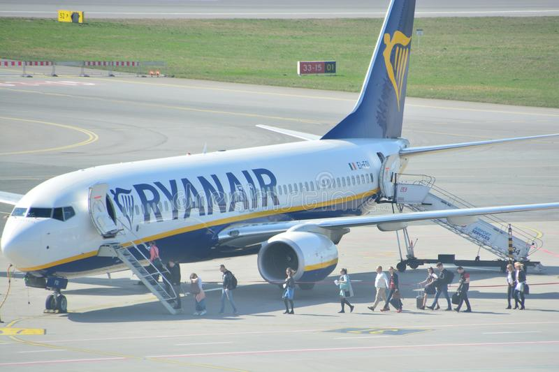 Boeing 737-800 view. This is a view of Ryanair plane Boeing 737-800 registered as EI-FOI on the Warsaw Chopin Airport. April 1, 2017. Warsaw, Poland stock image