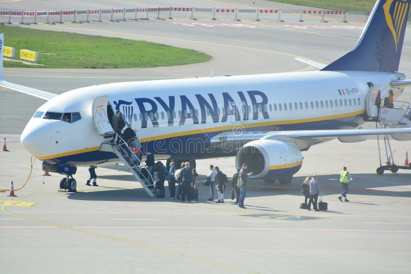 Boeing 737-800 view. This is a view of Ryanair plane Boeing 737-800 registered as EI-FOI on the Warsaw Chopin Airport. April 1, 2017. Warsaw, Poland royalty free stock images