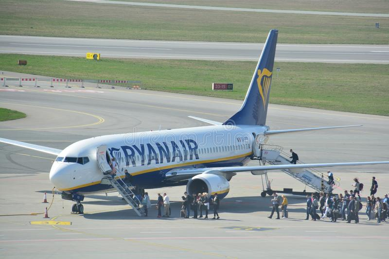 Boeing 737-800 view. This is a view of Ryanair plane Boeing 737-800 registered as EI-FOI on the Warsaw Chopin Airport. April 1, 2017. Warsaw, Poland stock images