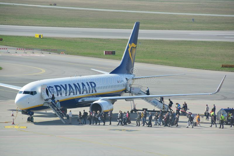 Boeing 737-800 view. This is a view of Ryanair plane Boeing 737-800 registered as EI-FOI on the Warsaw Chopin Airport. April 1, 2017. Warsaw, Poland royalty free stock image
