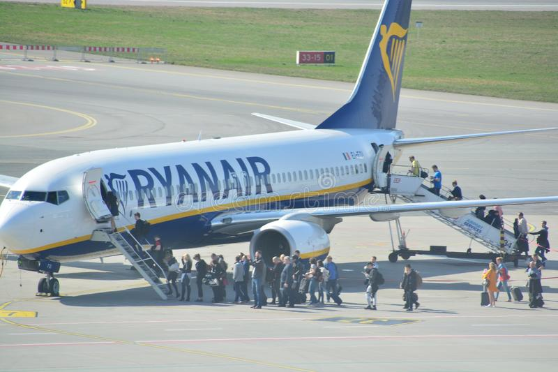 Boeing 737-800 view. This is a view of Ryanair plane Boeing 737-800 registered as EI-FOI on the Warsaw Chopin Airport. April 1, 2017. Warsaw, Poland stock photography