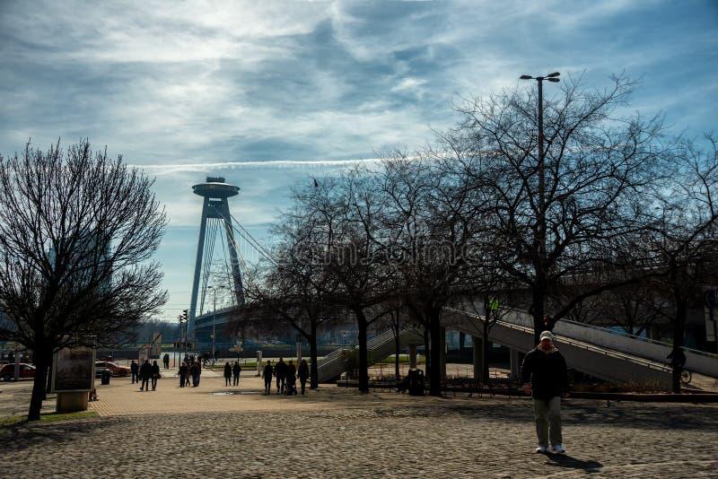 View to Most SNP UFO Bridge in Bratislava stock photography