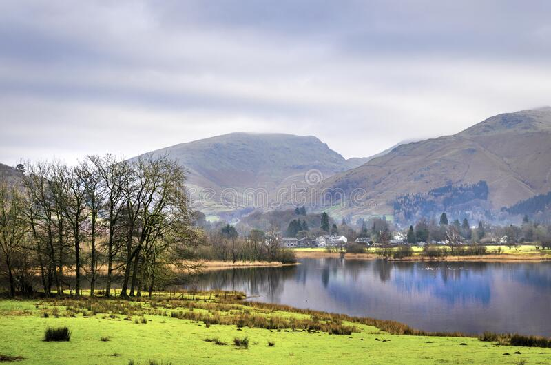 A view of Rydal water in the Lake District with the Langdales. A view of Rydal water from the road with the Langdales range in the background royalty free stock images