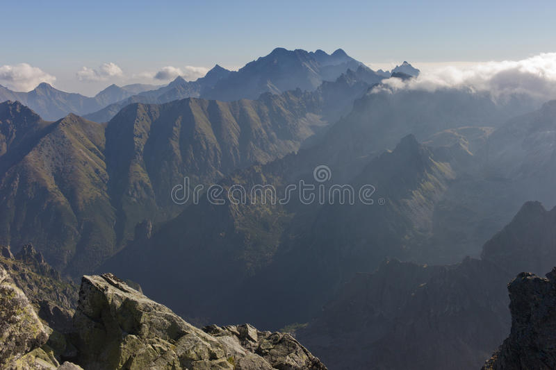View from Rysy peak in High Tatras stock images