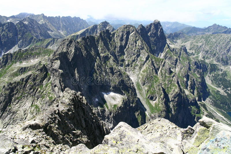 View from Rysy peak in Tatry mountains stock image