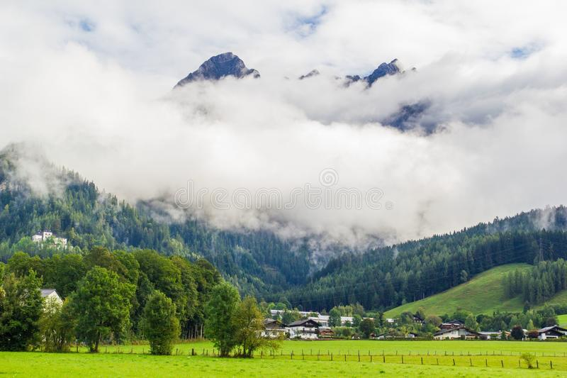 View from Saalfelden in Austria in direction of Berchtesgaden. Beautiful view from Saalfelden in Austria in direction of Berchtesgaden royalty free stock photo
