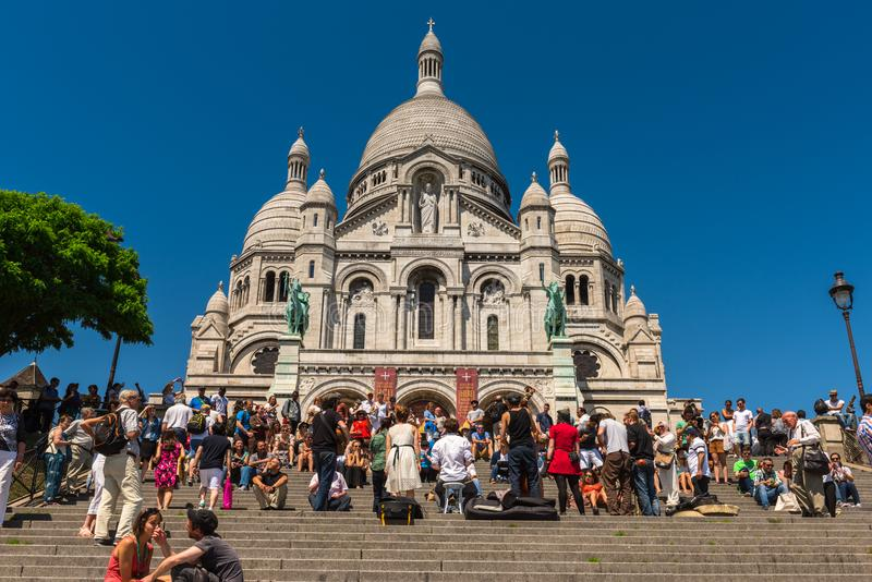 View of Sacre Coeur Basilica cathedral, Montmartre Paris royalty free stock photography