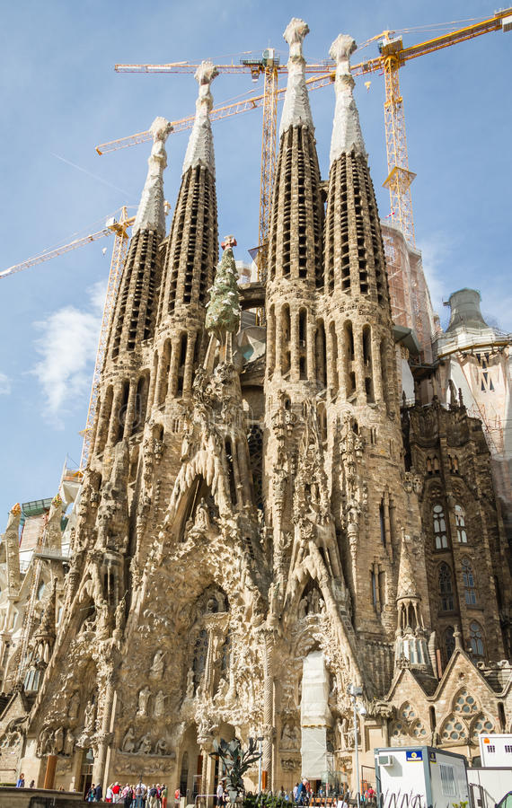 View of the Sagrada Familia cathedral, designed by Antoni Gaudi, in Barcelona, Spain stock images
