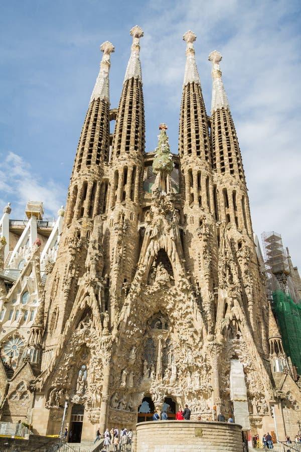 View of the Sagrada Familia cathedral, designed by Antoni Gaudi, in Barcelona, Spain stock photo