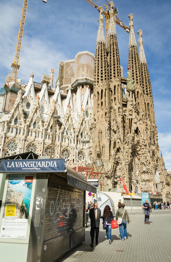 View of the Sagrada Familia cathedral, designed by Antoni Gaudi, in Barcelona, Spain royalty free stock photos