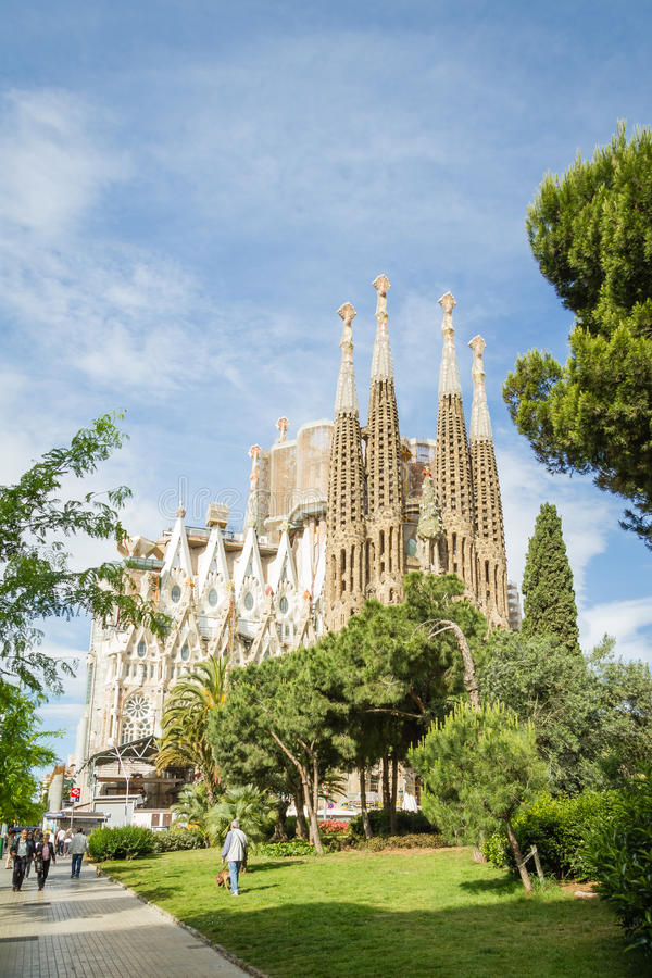 View of the Sagrada Familia cathedral, designed by Antoni Gaudi, in Barcelona, Spain royalty free stock image