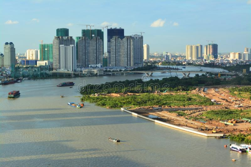 View of Saigon river from above royalty free stock photos