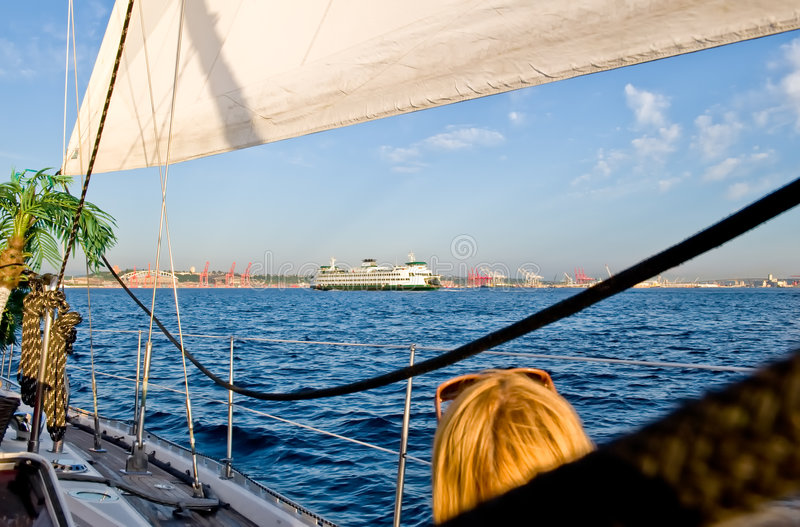 View from a sailboat royalty free stock photography