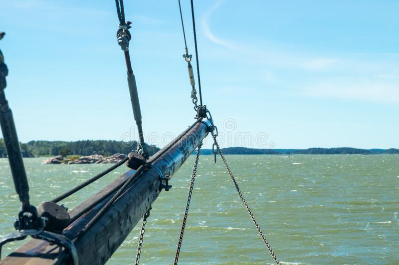 View from the sailboat of sea and archipelago at sunny summer day in Naantali, Finland.  stock images