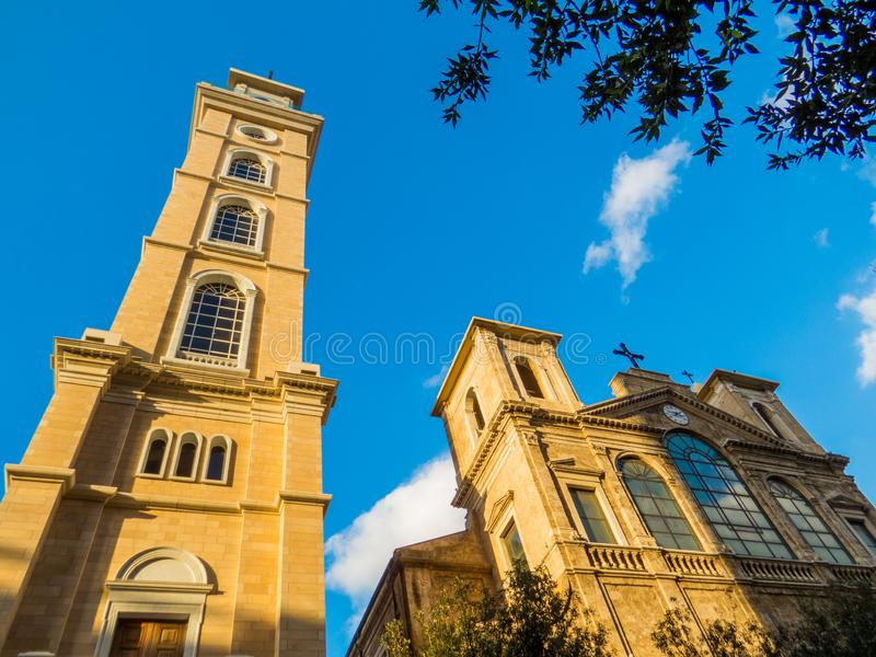 Saint Georges Maronite Cathedral in Beirut, Lebanon. View of the Saint Georges Maronite Cathedral in the old town royalty free stock image