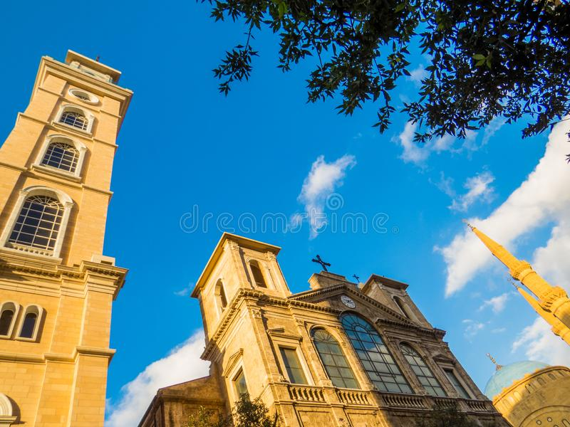 Saint Georges Maronite Cathedral in Beirut, Lebanon. View of the Saint Georges Maronite Cathedral in the old town stock images