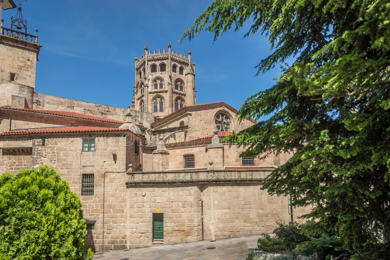 View at the Saint Martin Cathedral of Ourense in Spain. View at the Saint Martin Cathedral of Ourense - Spain royalty free stock images